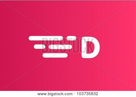 Fast line vector letter D logo monogram