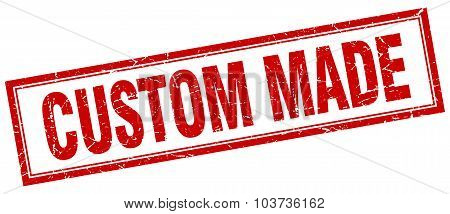 Custom Made Red Square Grunge Stamp On White