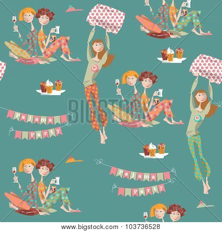 Pajama Party.  Seamless Background Pattern.