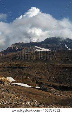 Kamchatka Volcanic Landscape: Active Mutnovsky Volcano