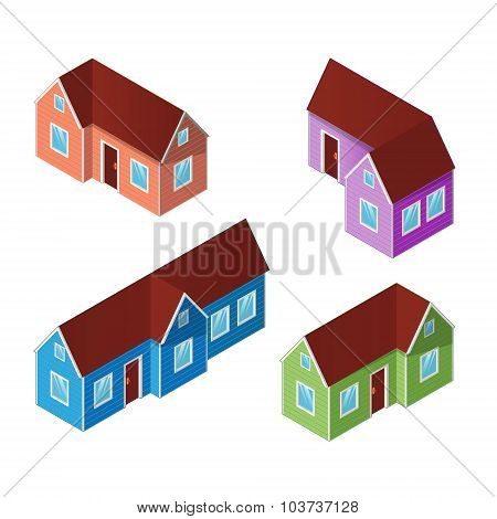 Set Of Four Colorful Isometric Houses, Building Icons Isolated O