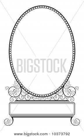 Oval Frame With Spiral Floral Motive