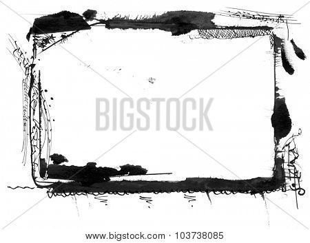 Hand painted mixed media grunge frame, nice design element for your projects.