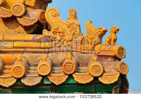 Pagoda roof of historical architecture in Forbidden City in Beijing, China.