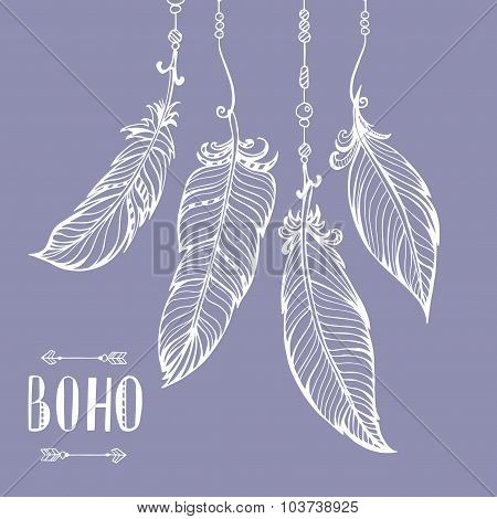 Vector hand drawn poster. Bohemian style.
