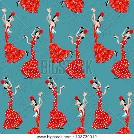 Flamenco Dancer. Spanish Traditions. Seamless Background Pattern.