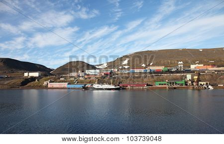 Barentsburg a Russian coal minning village in Svalbard