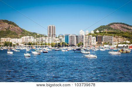 Scenic View of Harbor in Guanabara Bay, Rio de Janeiro, Brazil.