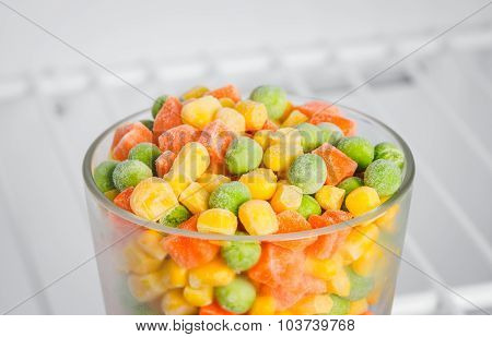 frozen vegetables in the freezer