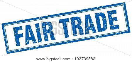 Fair Trade Blue Square Grunge Stamp On White