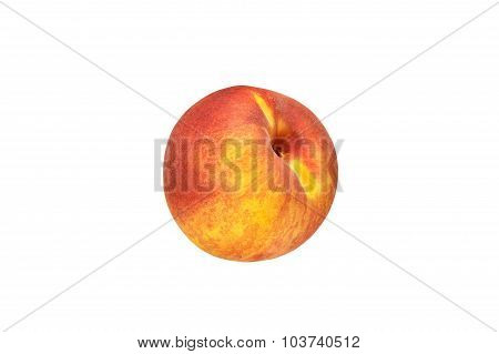 Beautiful red-yellow peaches close-up on a white background.