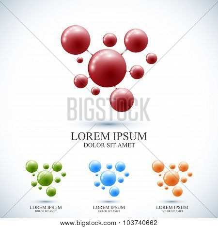 Modern set logotype icon dna and molecule. Vector template for medicine, science, technology , chemi
