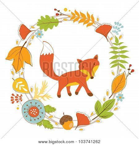 Little fox character in floral wreath