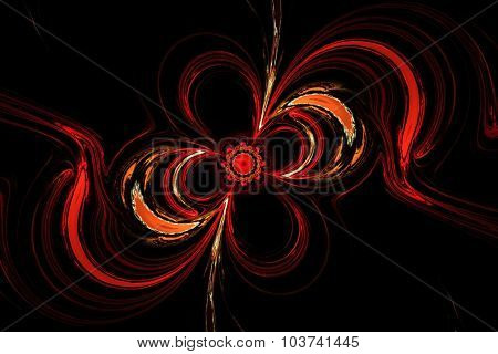 Abstract the mysterious glowing red flower swirls in dark space. Fractal art graphics