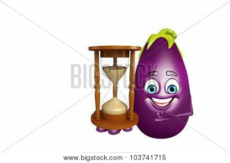Cartoon Character Of  Brinjal Fruit With Sand Clock