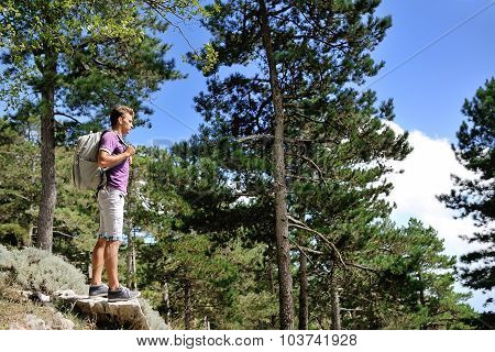 Hiker With Backpack On A Mountain Between Trees