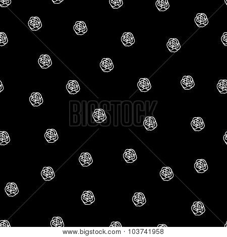 Black And White Seamless Roses Pattern
