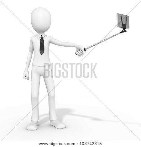 3D Man Selfie Photo With Smartphone