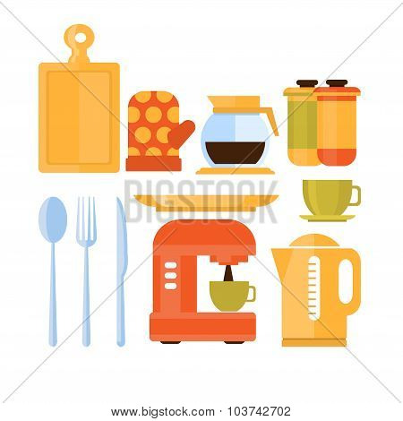 Kitchen Utensils Set. Vector Illustration