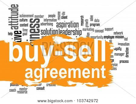 Buy Sell Agreement Word Cloud With Orange Banner