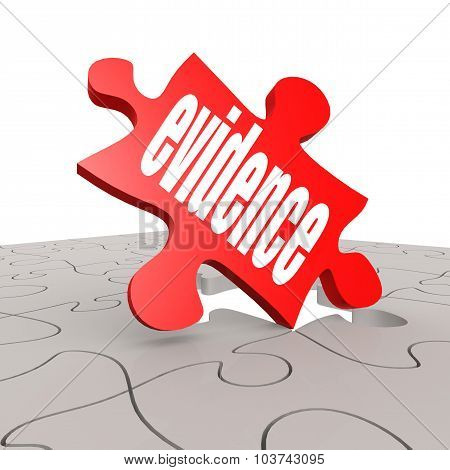 Evidence Word With Puzzle Background