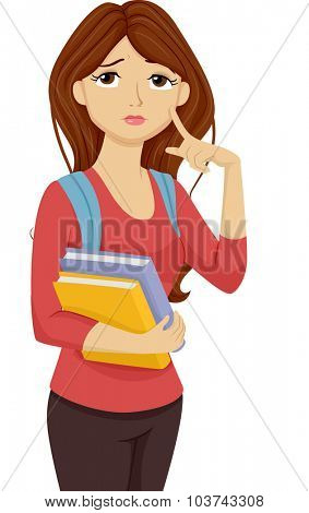 Illustration of a Female Teenage Student Thinking to Herself
