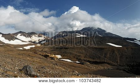 Kamchatka Landscape: Panoramic View Of Active Mutnovsky Volcano