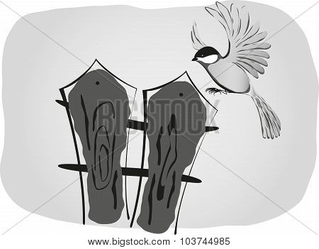 Black and white drawing, bird sits on the fence. EPS10 vector illustration
