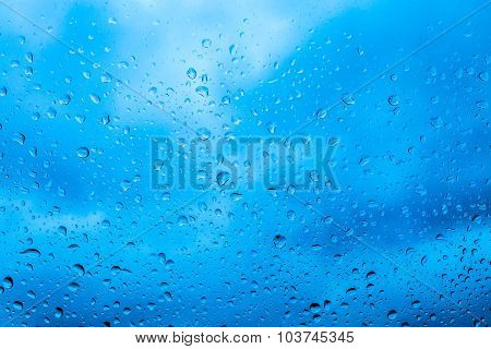 Water drops on a window glass after the rain.