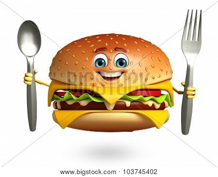 Cartoon Character Of  Burger With Spoon