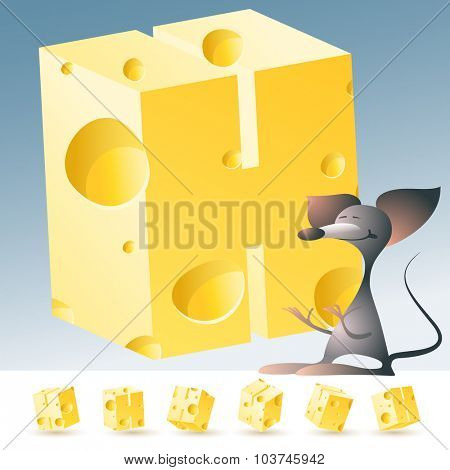 3D vector yellow cheese alphabet with funny mouse. All symbols in set have 6 random points of view. Letter H