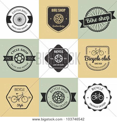 Set of  bicycle shop logo