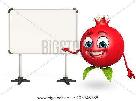 Cartoon Character Of Pomegranate Fruit With Display Board