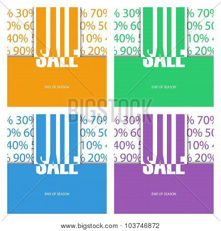 Set of color sale posters. End of season.