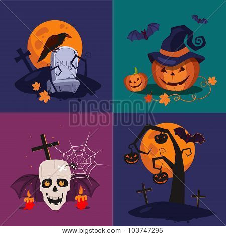 Halloween Pumpkin, Skull and Grave Vector Illustration Set