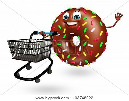 Cartoon Character Of donuts With Trolley