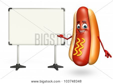 Cartoon Character Of Hot Dog With Display Board