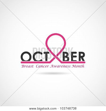 Breast Cancer Awareness Logo Design. Breast Cancer Awareness Month Icon.realistic Pink Ribbon.