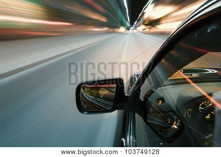 Car In Night Drive On The Road In City Motion Blur