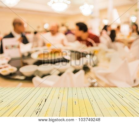 Image Of Blur People On Table Dinning Set