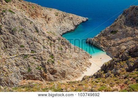 Secret beach on remote island. Rizoskloko (Seitan Limani), Crete, Greece.