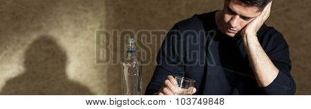 Troubled Businessman Drinking Alcohol