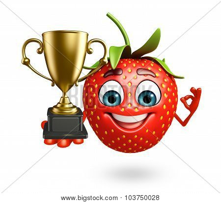 Cartoon Character Of Strawberry With Trophy