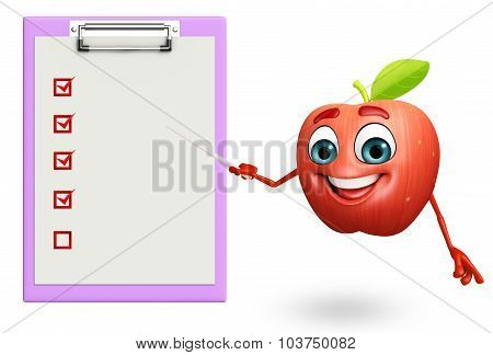 Cartoon Character Of Apple Fruit With Notepad