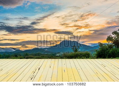 Mountain  And Blue Sky With Sunset
