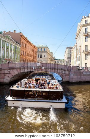 Tourist Boat Goes Through The Channel In St. Petersburg, Russia