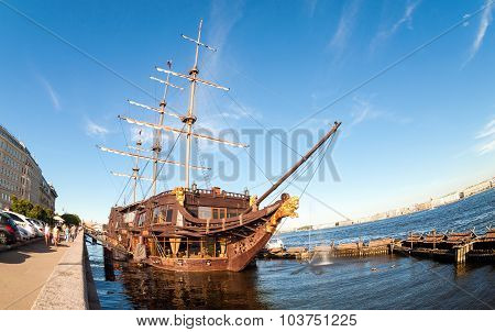 Fisheye View On Ancient Sailing Vessel At Kronverk Embankment In The Summer Sunny Day