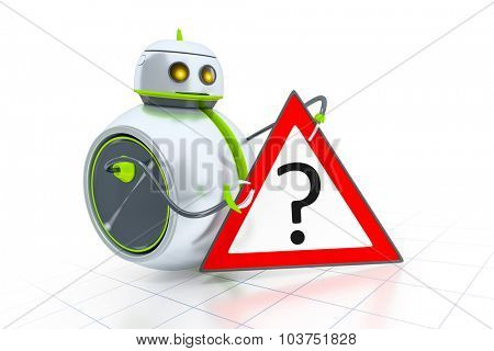 A sweet little robot and a road sign with a question mark