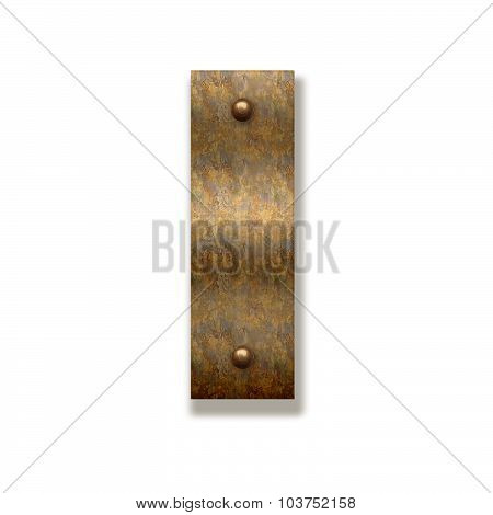 Rusty Metal Letter I. Alphabet Isolated On White Background