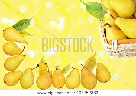Set with yellow Pears on the background